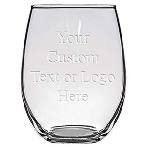 custom stemless wine glass